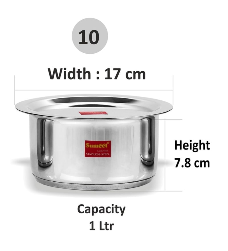 Sumeet Stainless Steel Non-Stick Induction Bottom Patila with Lid, 1000 ML