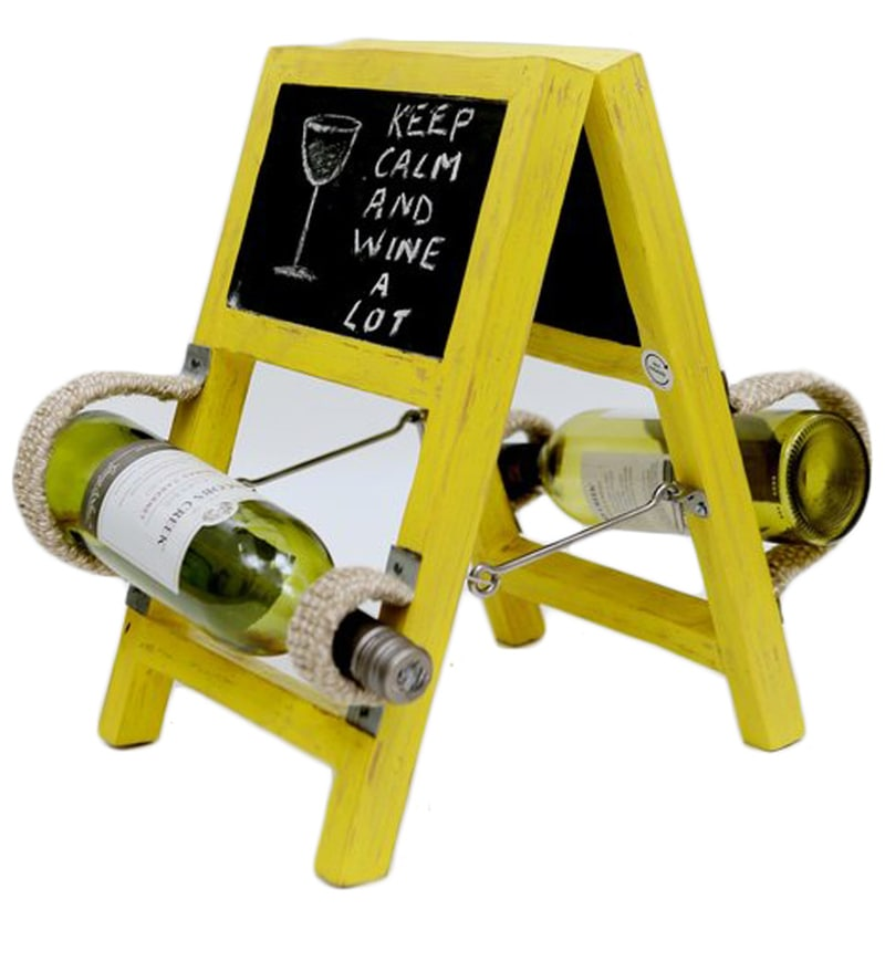 Sunshine Ladder Style Yellow Wine Rack by Desi Jugaad