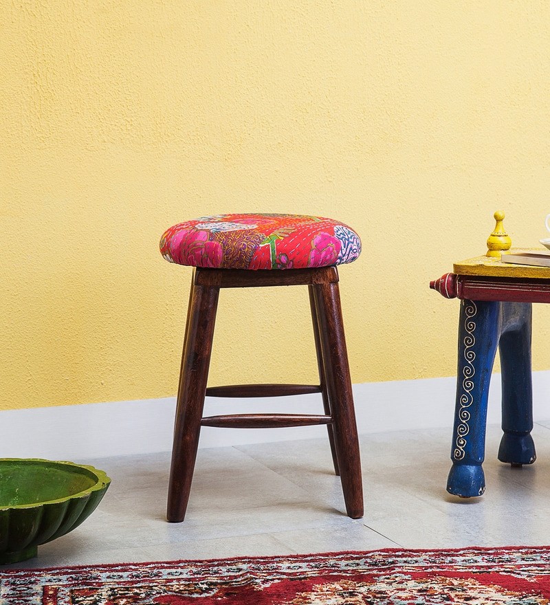 Kausika Stool with Kaantha Fabric by Mudramark