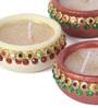 Multicolour Clay Diwali Diya - Set of 4 by Suriti