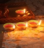 Suriti Multicolour Clay Diwali Diya - Set of 7