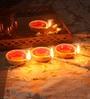 Multicolour Clay Diwali Diya - Set of 7 by Suriti