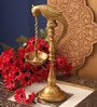 Golden Brass Parrot Stand Oil Diya by Suriti