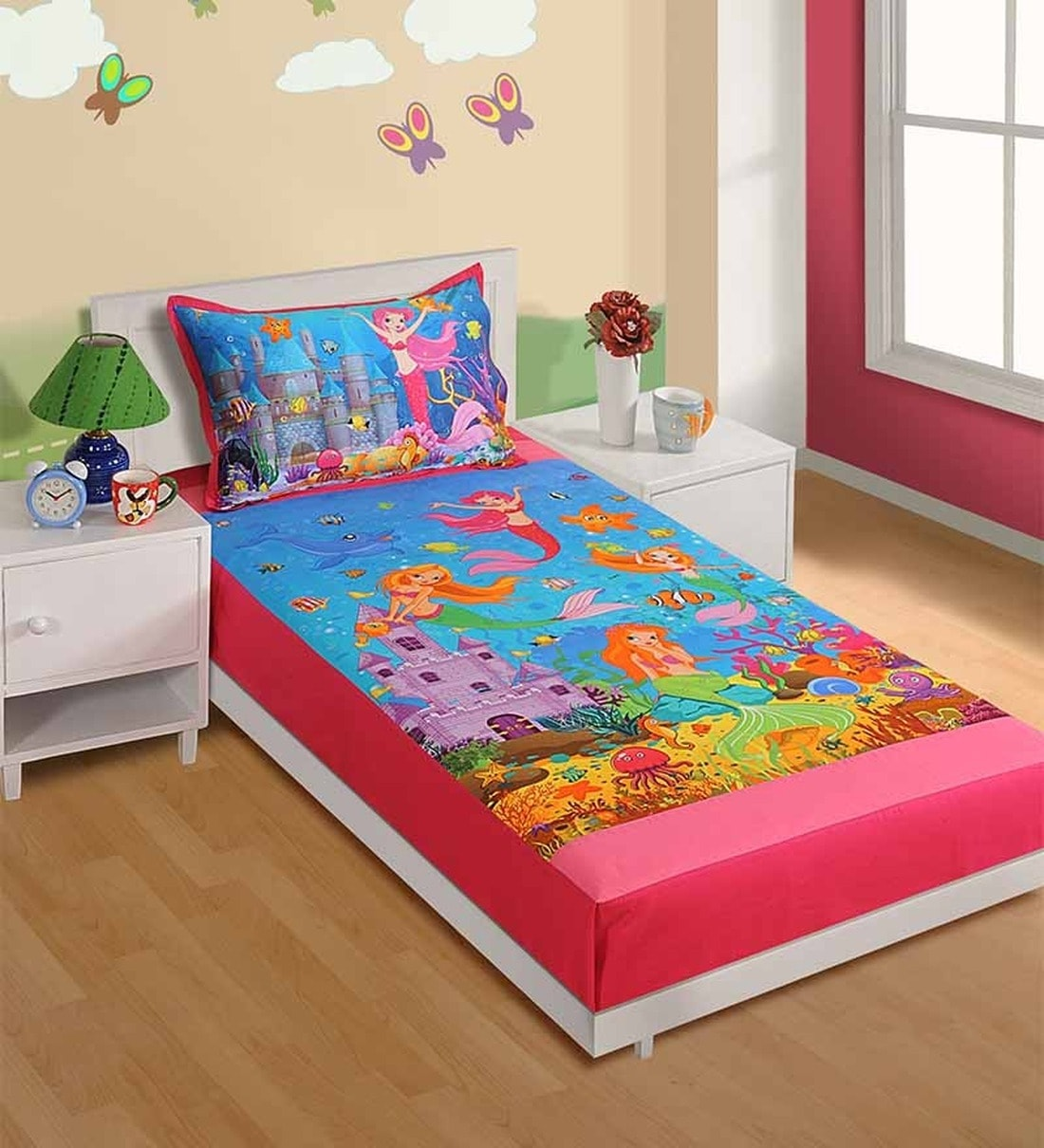 Buy Cotton Single Size Bedsheet In Pink With Pillow Covers By Swayam Online Kids Single Bedsheets Kids Single Bedsheets Kids Furniture Pepperfry Product