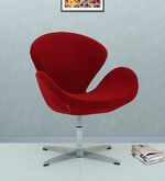 Swan Black Accent Chair in Red Colour