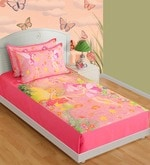 Cotton Single-Size Bedsheet in Pink & White with Pillow Covers
