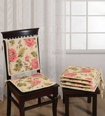 White Cotton 16 x 16 Inch Printed Chair Pad - Set of 2