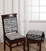 Black Cotton 16 x 16 Inch Printed Chair Pad - Set of 4