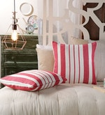 Red Cotton 20 x 20 Inch Red Stripes Cushion Covers - Set of 2