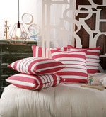 Red Cotton 20 x 20 Inch Red Stripes Cushion Covers - Set of 5