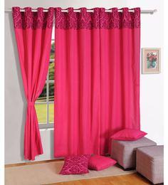 magenta 100 cotton 60 x 54 inch solid premium lining plain eyelet window curtain