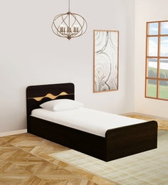 Swirl Single Bed with Box Storage in Denver Oak Finish