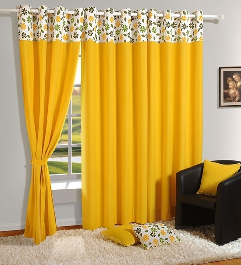 Buy yellow cotton 60 x 54 inch eyelet window curtain by for Cortinas amarillas