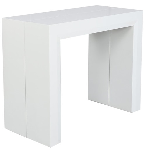 S Convertible Console Dining Table In White Colour By Gravity
