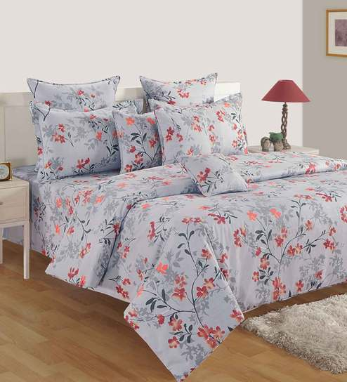 Buy Swayam 180 Tc Floral Print Cotton Fitted Queen Size Bedsheet