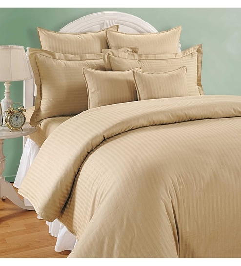 Beige Cotton Queen Size Bed Sheet   Set Of 3 By Swayam