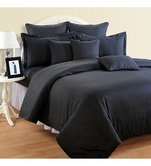 Buy Black Cotton Queen Size Bed Sheet Set of 3 by Swayam Online