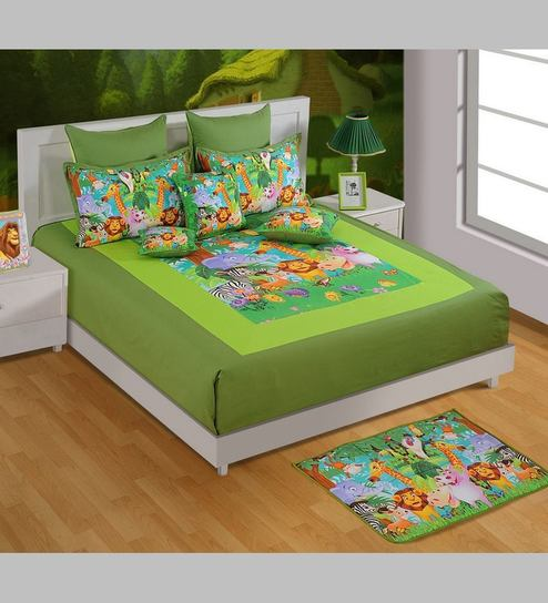 Funky Animal Print King Size Cotton Bedsheet In Green With Pillow Covers  (Set Of 3) By Swayam