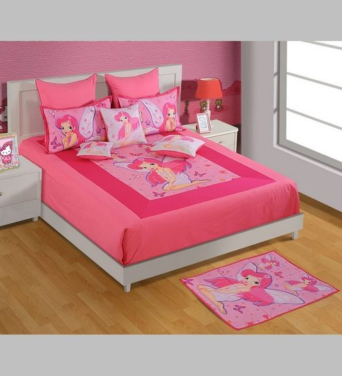 Fairy King Size Cotton Bedsheet With Pillow Covers By Swayam