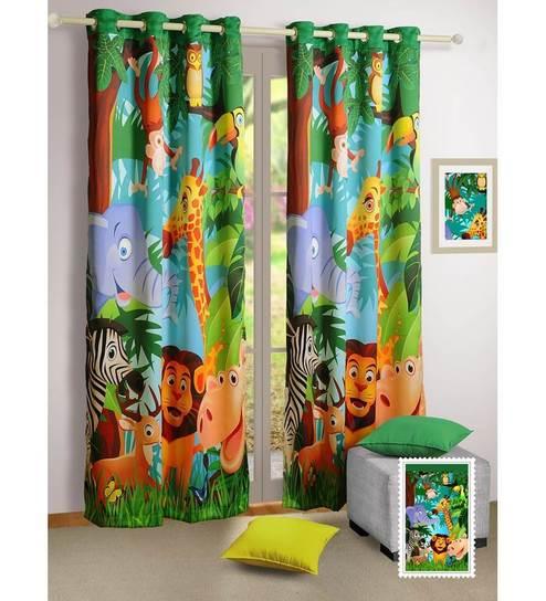 Digital Printed Madagascar Kids Green Silk 60x48 INCH Eyelet Window Curtain By Swayam
