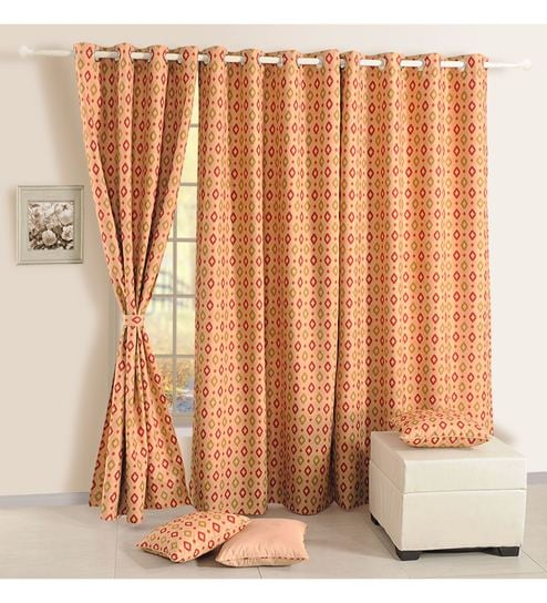 Golden Faux Silk Polyester 90 X 48 Inch Ethnic Mulberry Lining Door Curtain By Swayam