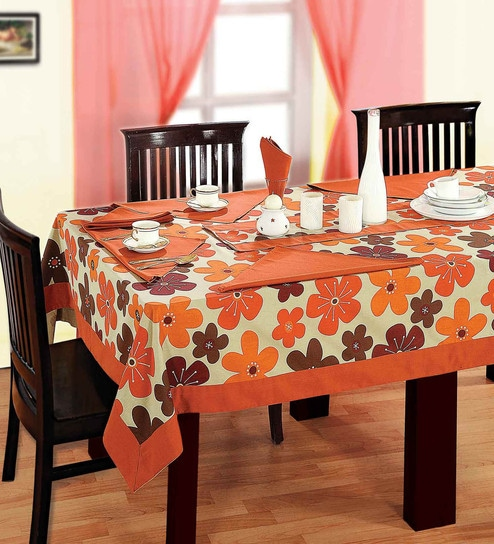 Pepperfry & Swayam Libra Printed Turquoise 100% Cotton 4 Seater Table Cover