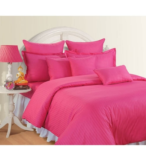 Buy Pink Cotton Queen Size Bed Sheet Set of 3 by Swayam Online