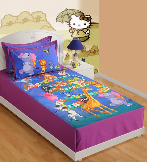 Single Digital Print Kids Bed Sheet Set With 1 Pillow Cover By Swayam