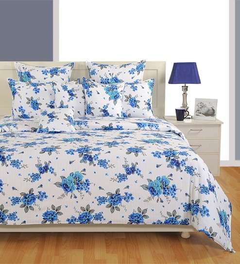 Swayam Zinnia Collection Blue Cotton Floral Double Bed Sheet (with Pillow  Covers)