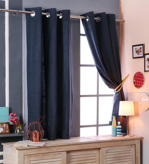 Blue Cotton 46 X 54 Inch Blackout Window Curtains   Set Of 2 By SWHF