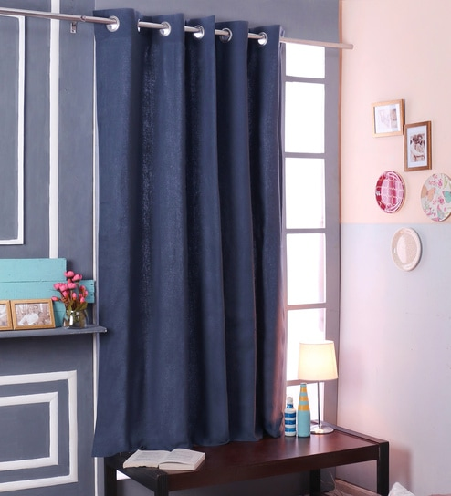 Blue Cotton 66 X 72 Inch Blackout Door Curtains By SWHF