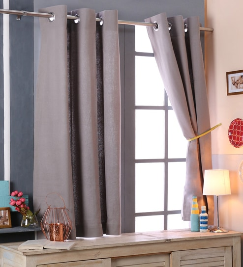 Curtains Ideas 54 inch curtains : Buy SWHF Grey Cotton 46 x 54 Inch Blackout Door Curtains - Set of ...