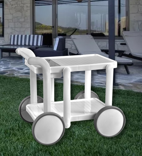 Swing Luxury Service Cum Bar Trolley In White Colour