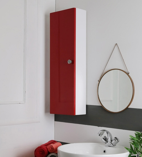 Jj Sanitaryware Lorence Red Pvc Bathroom Cabinet