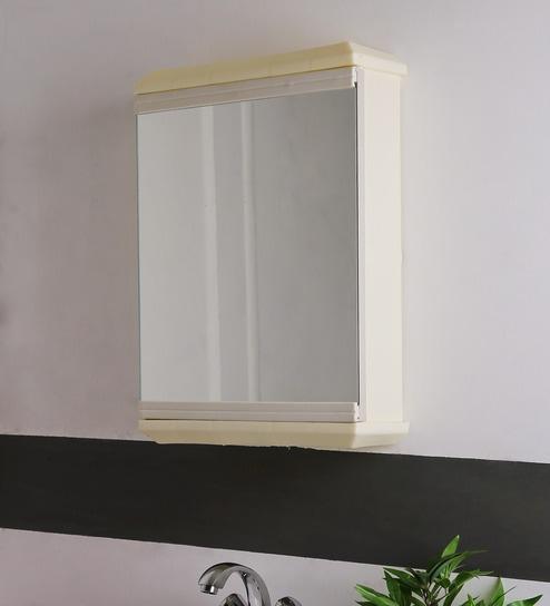 SWK Sanitaryware Nylex Ivory Plastic 14 X 5 X 20.7 Inch Bathroom Mirror Cabinet