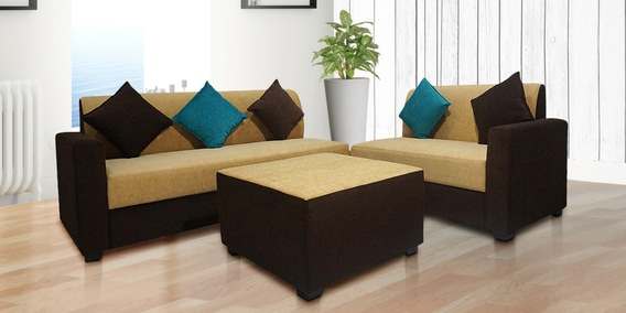 Buy Sweden Sectional Sofa With Center Table In Beige Brown Colour