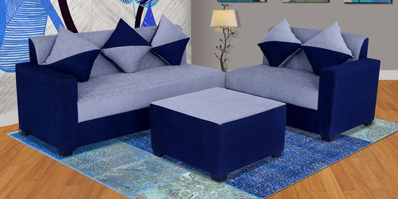 Sweden Sofa Set With Ottoman In Grey Blue Colour By Muebles Casa