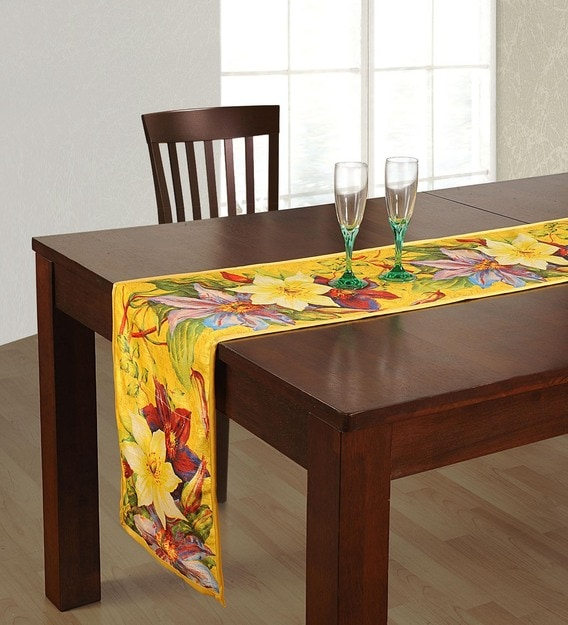 Buy Floral Pattern Yellow Cotton 70x12 Inches Table Runner By Swayam Online Table Runners Table Runners Furnishings Pepperfry Product