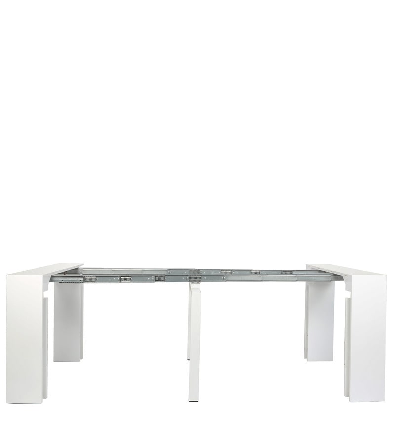 Buy swank convertible console cum dining table in white for Convertible console table