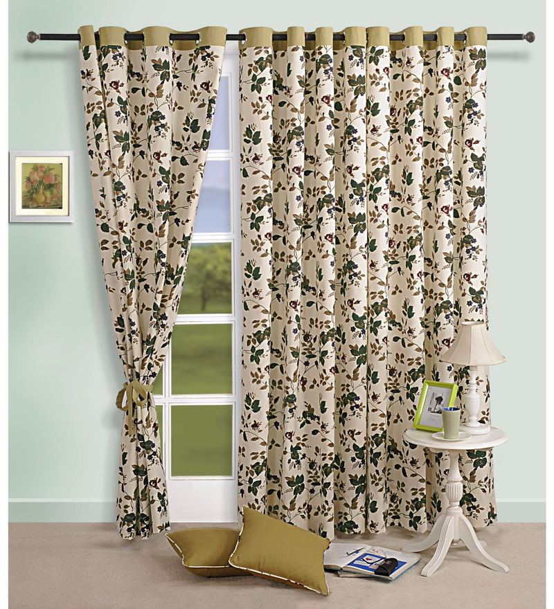 Beige 100% Cotton 60 x 54 Inch Floral Printed Eyelet Window Curtain by Swayam