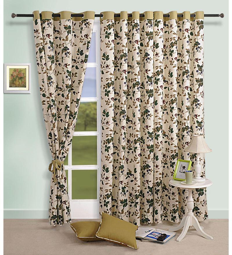 Beige Cotton Floral Printed Eyelet Curtain by Swayam