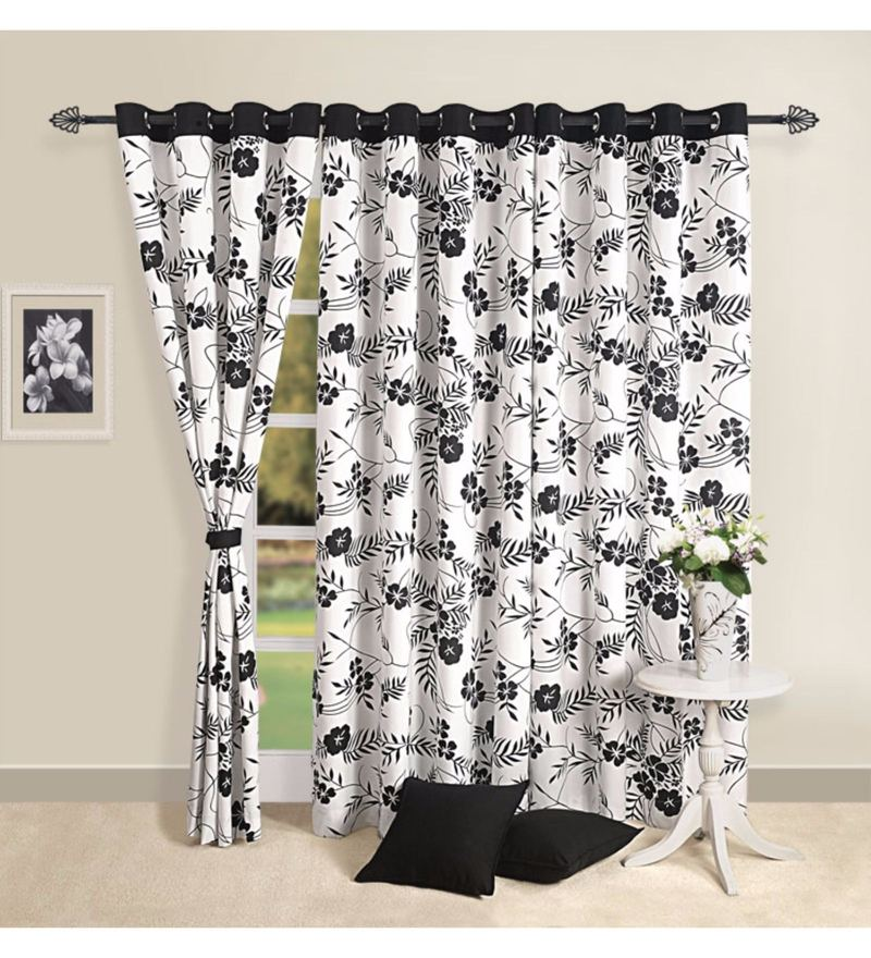 Black 100% Cotton 60 x 54 Inch Floral Premium Lining Printed Eyelet Window Curtain by Swayam