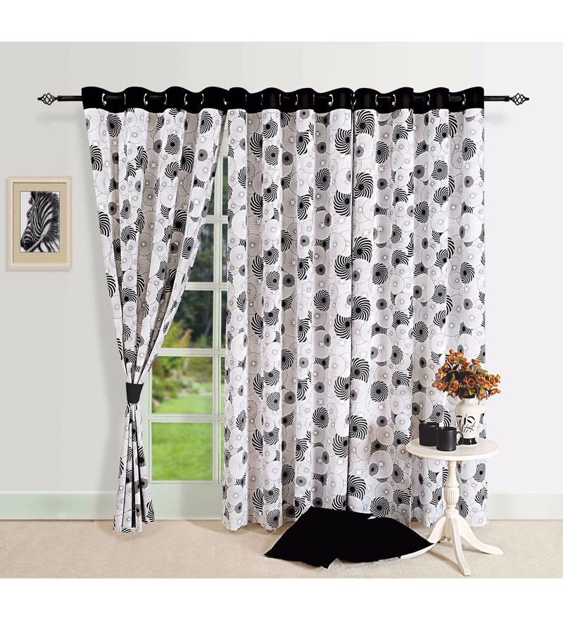 Black 100% Cotton 60 x 54 Inch Geometrical Premium Lining Printed Eyelet Window Curtain by Swayam