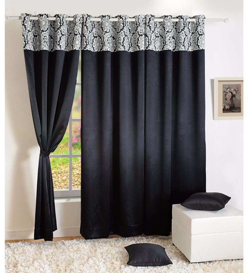 Black Faux Silk 60 x 48 Inch Solid PNP Blackout Eyelet Window Curtain by Swayam
