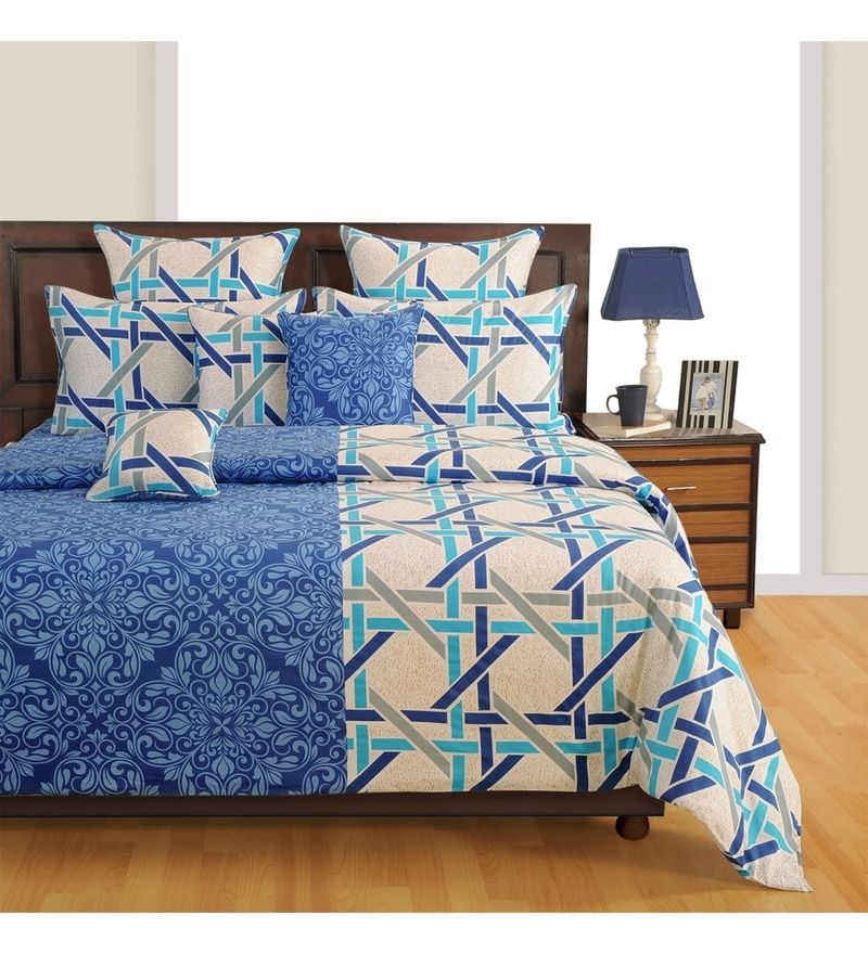 Blue Cotton Bed sheet - Set of 2 by Swayam