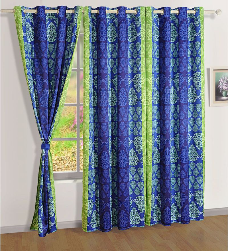 Blue Faux Silk 60 x 48 Inch Ethnic Sigma Eyelet Window Curtain by Swayam
