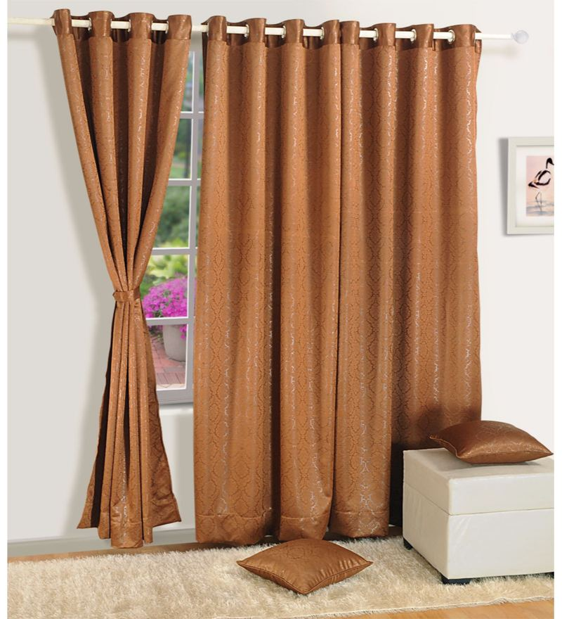 Coffee Brown Jacquard 60 x 48 Inch Paisley J&B Blackout Eyelet Window Curtain by Swayam