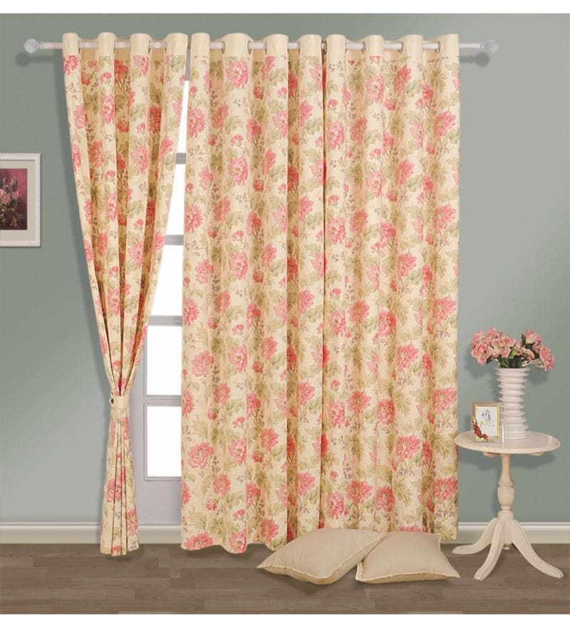 Cream Cotton Floral Printed Eyelet Curtain by Swayam