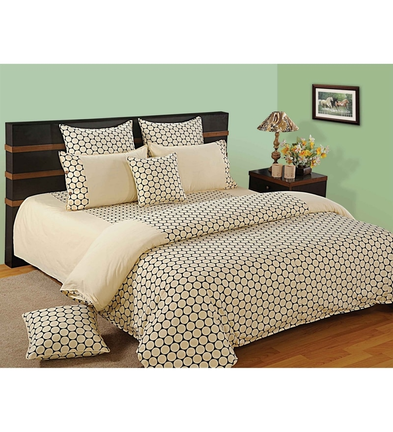 Cream Cotton Queen Size Bedding Set - Set of 4 by Swayam