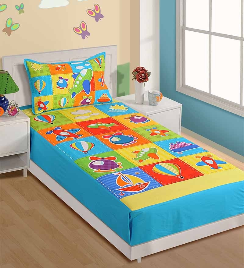 Single-Size Cotton Bedsheet in Blue with Pillow Covers by Swayam